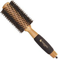Hairway Round brush made of Genuine Wood with pure wild boar bristles and a foam rubber handle